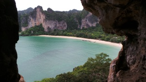The view from the rappel station at the exit of the Lhak Chui Cave looking down on Railay West Beach