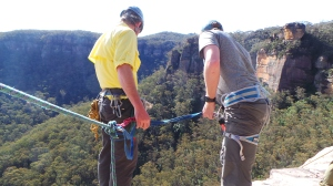 A long way down. Getting ready to go over the edge at Mt Boyce