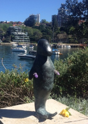 One of several sculptures that line the walkway at Lavender Bay